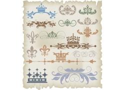 皇冠植物花纹装饰元素