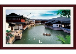 江南古镇风景中堂画