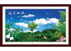 仙鹤与风景装饰画