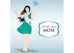 抱着婴儿的母亲节日海报