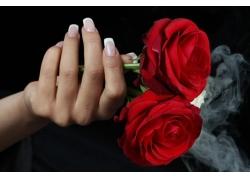 玫瑰花和指甲