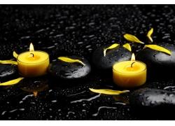蜡烛与保健石头