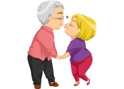 手牵手亲吻的夫妻