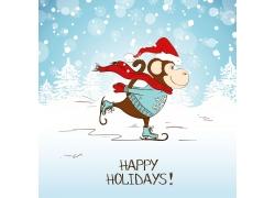 溜冰的卡通猴子