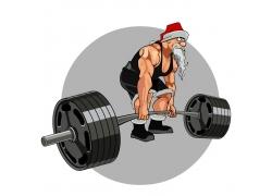 举重的圣诞老人