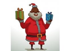 捧着礼物的黑人圣诞老人
