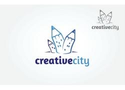 蓝色铅笔logo设计
