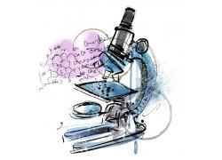 手绘涂鸦显微镜与化学公式