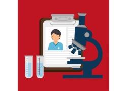 医生记录本与显微镜