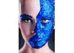 蓝色彩妆美女摄影