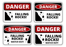 防止坠落的石头标示