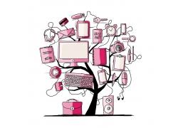 小树上的电子产品
