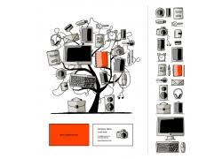 小树上的数字办公设备