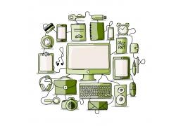 绿色电子设备模板