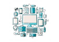 蓝色电子设备