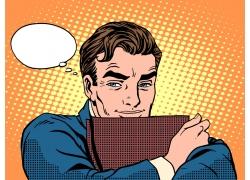 对话框与卡通商务男士