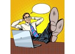 脚搭在办公桌上的商务男士