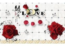 红色玫瑰3D背景墙