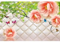 绿叶牡丹蝴蝶3D背景墙