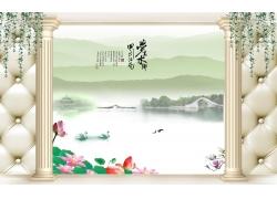 湖泊天鹅罗马柱3D背景墙