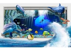立体海浪鲸鱼3D背景墙