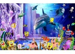 卡通动漫鲸鱼3D背景墙
