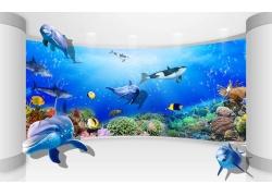 弧形立体鲸鱼3D背景墙