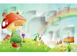 彩虹蘑菇3D背景墙