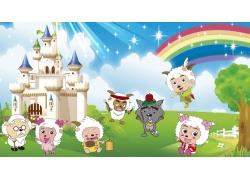 彩虹城堡3D背景墙