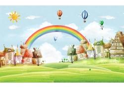 彩虹草地房屋3D背景墙