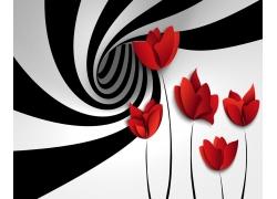 漩涡红花3D背景墙