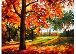 水彩秋天树林3D背景墙