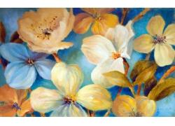 水彩彩色花朵3D背景墙