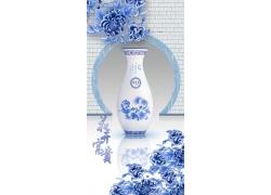 青花瓷瓶牡丹3D背景墙