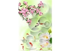 跳跃红鲤白莲3D背景墙
