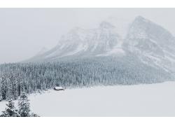 高山树林木屋雪景