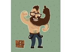健身的卡通男人