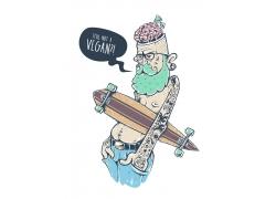 拿滑板的卡通男人