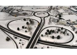 立交桥雪景