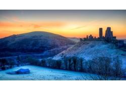 冬天山脉雪景