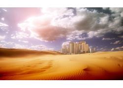 蓝天白云沙漠与城市