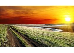 黄昏草地风景