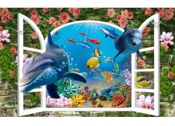 立体窗户花朵鲨鱼背景墙
