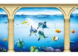 金色罗马柱海鱼背景墙