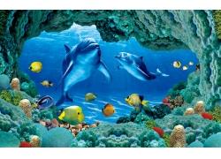 鱼群礁石背景墙
