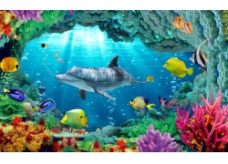 礁石海底背景墙
