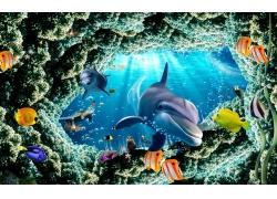 冲出礁石鲨鱼背景墙