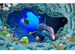 鱼群鲨鱼海底背景墙