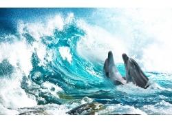 浪花鲨鱼背景墙