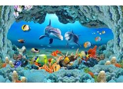 立体海底背景墙